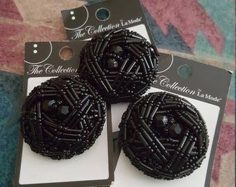 Elegant black beaded button