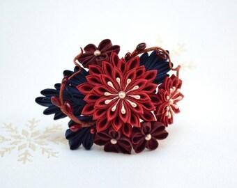 Dark red and navy winter berries Japanese kanzashi hair pin