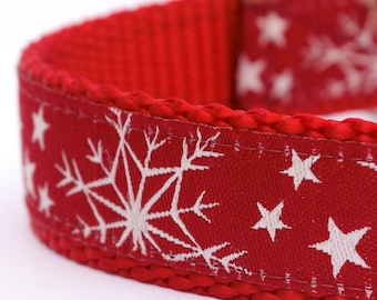 QUICK SHIP Red Snowflake Dog Collar, Holiday Pet Collar, Winter Dog Collar, Christmas Dog Collar, Festive