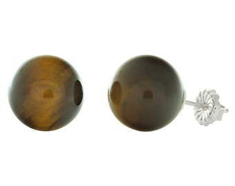 10mm Brown Tigers Eye Ball Stud Post Earrings Solid 925 Sterling Silver