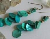 Turquoise Mother of Pearl Mermaid Scales Drop Earrings