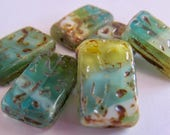 NEW COLOR  6 Beautiful Czech Glass Grooved Rectangle Beads in Aqua Blue/Green Mix with Picasso