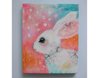 Original bunny rabbit painting whimsical boho mixed media abstract art painting on wood panel 8x10 inches - With joy in her heart