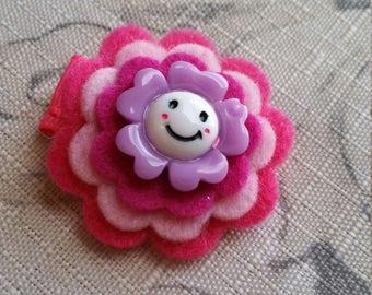 Mini Felt Flower Hair Clip With Button / Non slip / Ready To Ship