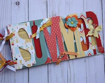 Summer scrapbook, Pre-made scrapbook for family summer memories, chipboard word album, vacation photos, bright -SUM2