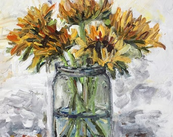 "Sunflowers in Vase  10""x10"" acrylics on square canvas original palette knife yellow white gray jar kitchen art"