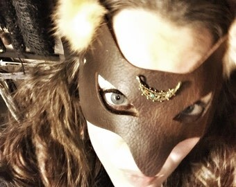 Brown Leather Fox Mask