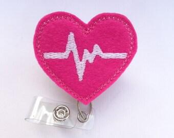 Retractable badge holder - nurse badge holder - Heartbeat EKG fuchsia dark pink felt with white - nurse badge reel medical badge reel