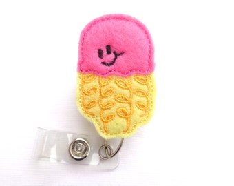 SALE - Badge Reel ID Holder Retractable - Pink and Yellow felt Jellyfish - medical staff nurse badge reel student nurse