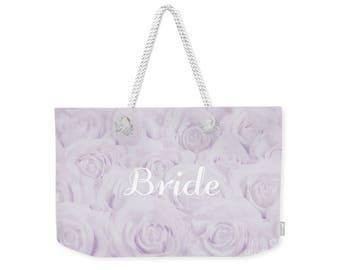 """Lavender """"Bride"""" Large Weekender Tote Bag, floral print, gift for bride bridal gift, bridal shower gift, destination wedding- 1610PUBRIDE"""