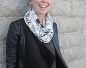 SALE *Was 29* Small Newspaper Infinity Scarf, Newsprint pattern, Lightweight scarf, made in Canada, journalist gift