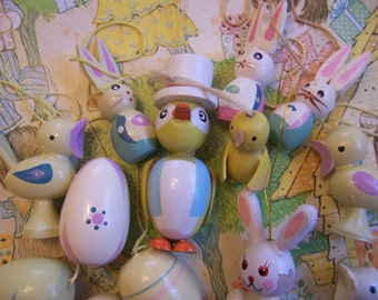 pastel painted wooden easter decorations