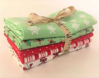 Moda Sugar Plum Christmas Fabric - Short Stack Five Fat Quarter Bundle - Red & Green Christmas Fat Quarters