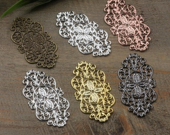 30 Brass Filigree Floral Base Setting, 28x56mm, Raw Brass/ Antique Bronze/ Silver/ Gold/ Rose Gold/ White Gold/ Gun-Metal Plated- Z7377