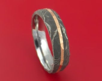 Damascus Steel Rock Hammered Ring with Angled 14k Rose Gold Inlay Custom Band