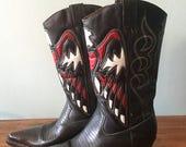 Fantastic Vintage Black Nine West Brazil Cowboy Boots Size 8