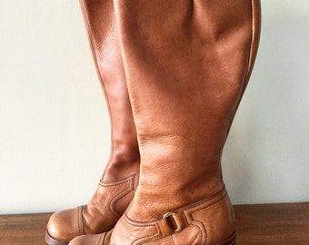 Vintage 1970s Brown Leather Knee High Boots