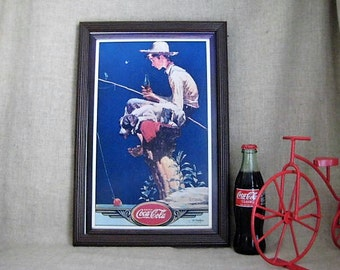 Reproduction Norman Rockwell Coke Sign / 1989 Coca Cola Boy Fishing Framed Tin Sign / Vintage Reproduction Coke Sign