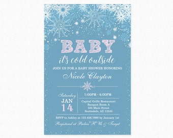Baby it's Cold Outside Baby Shower Invitation, Snowflakes, Pink, Girl, Personalized, Printable or Printed Available