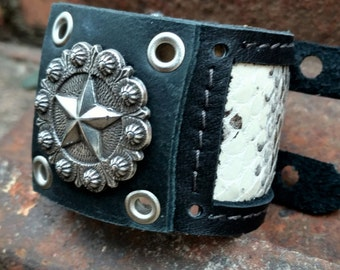Black Oiled Leather Bracelet with Star and Snakeskin Inlay