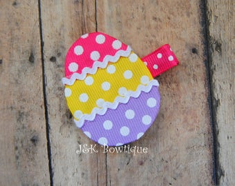 Easter Egg Shaped hair clip, hair bow, spring time, Easter, pastel colors