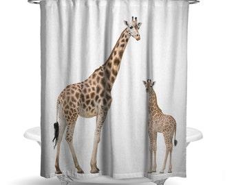 "Giraffe Fabric Shower Curtain/ Photography Print / Bath Curtain/ Standard Size (71""x74"") Mom and Baby Giraffes/ Animal/ Cute/ Wildlife"