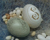 RESERVED FOR LINDA: Victorian Lace Egg Pair plus Preserved Hydrangea Wreath