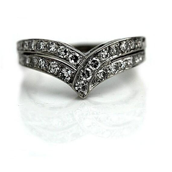 Vintage Wedding Ring Diamond Wedding Ring Band Contoured Wedding Band 1.50ctw Diamond Stackable Ring 14K White Gold Insert Ring Size 7!