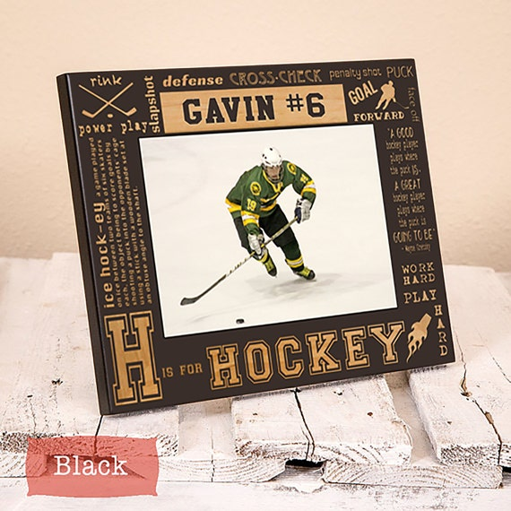 Personalized Hockey Picture Frame-Hockey Gift-Sports Gift-Wood