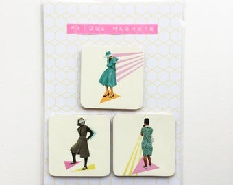 Square Wood Fridge Magnets - Modern Women