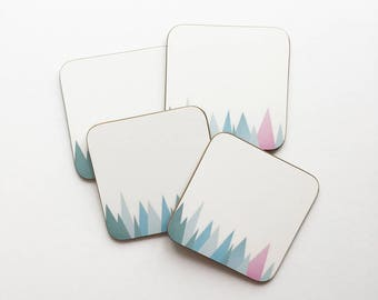 Set of Four Geometric Mountain Coasters With Rounded Corners - Snowy Mountains