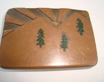 Vintage Copper and Brass Mixed Metal Malachite Pine Tree Inlaid Belt Buckle