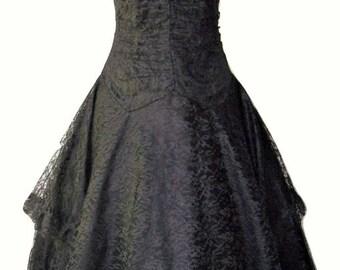 Vintage 1980s Nuance Black Lace Party Dress Sz 9