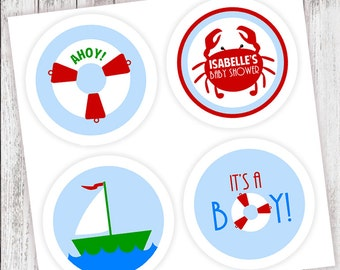 AHOY! It's a Boy! #Party #Stickers, Gift #Tags or Cupcake #Toppers