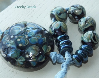 Handmade Lampwork Beads - 'Faded Tapestry!' - Creeky Beads SRA