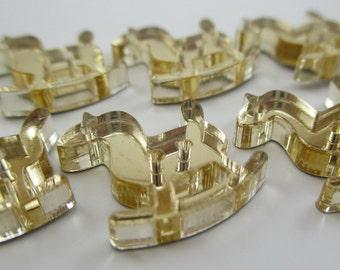 6 pcs Acrylic Rocking Horse Buttons - 15mm - Plexiglass Button - Plastic Button - Fashion Scrapbooking sewing - Golden Mirror (BUP002GM)