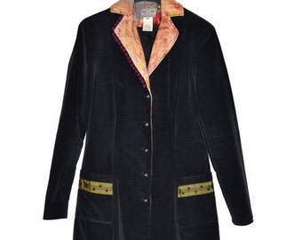 ON SALE Vintage Womens MADAME Zaza Of Marseille Black Velvet Coat Jacket Size 42 Made In France