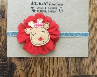 Christmas Headband, Baby Girl Headband, Newborn Headband, Christmas Photo Prop, Newborn Prop, Reindeer Headband, Holiday Headband