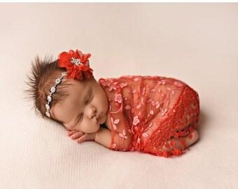 CHRISTMAS SALE Red Wrap and Headband Set, Christmas Photo Prop, Newborn Photo Prop, Baby Girl Headband, Rhinestone Headband