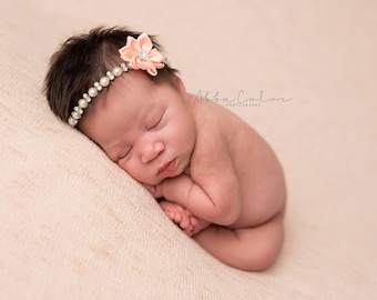 Rhinestone Headband, Baby Girl Headband, Newborn Photo Prop, Baby Bling, Pearl Headband, Baby Girl Prop