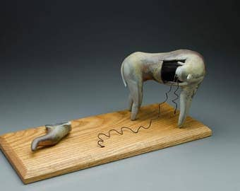 Loose Threads - a one of a kind ceramic sculpture