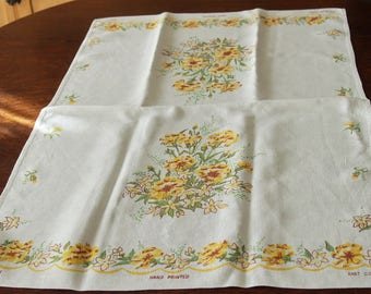 Linen Tea Towel Hand Printed Yellow Flowers 1950s