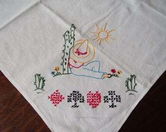 Mexican Style Card Table Cover Embroidered Mid Century