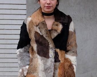 Patchwork Rabbit Fur Coat
