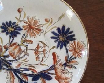 ON SALE Vintage Plate Handpainted Blue Orange Gold Flowers Antique Collectible European
