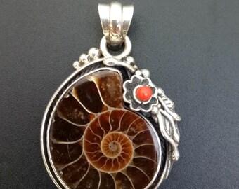 Ammonite Statement Pendant - Handmade Sterling  Silver and Ammonite Boho Style Statement Pendant - Unique Fossil Pendant