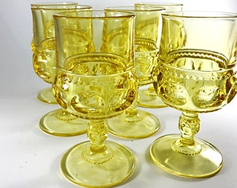 SALE 4 Vintage Glass Goblets Tiffin Glasses Wine / Water Goblets Wine Glasses Yellow Glassware