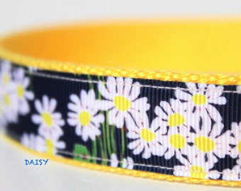 Daisy Dog Collar, Adjustable Dog Collar, Navy Blue with Daisy Dog Collar, Summer Dog Collar, Collar, Cotton Dog Collar, Collar & Leash Set