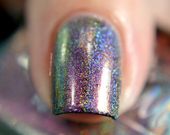 "Nail polish - ""State Of Mind"" Pink / gold / green multichrome holo with copper flakes"