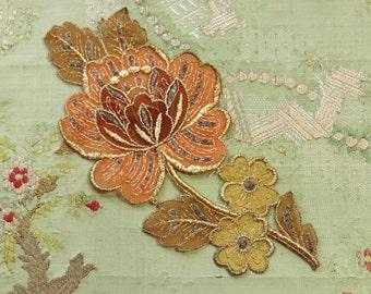 Antique applique gold metal pastel roses embroidered art deco rosette trim flapper flowers